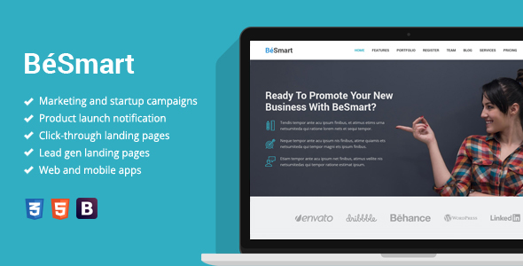 BeSmart - Startup Landing Page Template