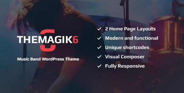 Image of The Magic 6 - Music Band & Musician WordPress Theme