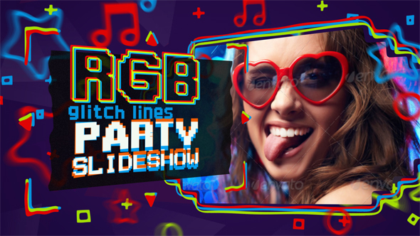 Download Glitch RGB Lines Party Slideshow nulled download