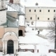 Janitor Cleans Snow In The Yard Of The Monastery