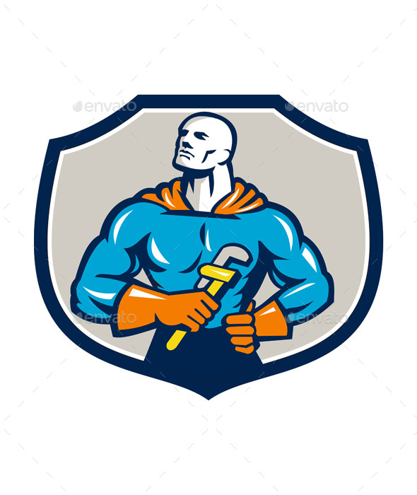 Plumber Superhero Monkey Wrench Crest Retro