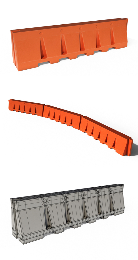 Plastic Safety Barrier - 3DOcean Item for Sale