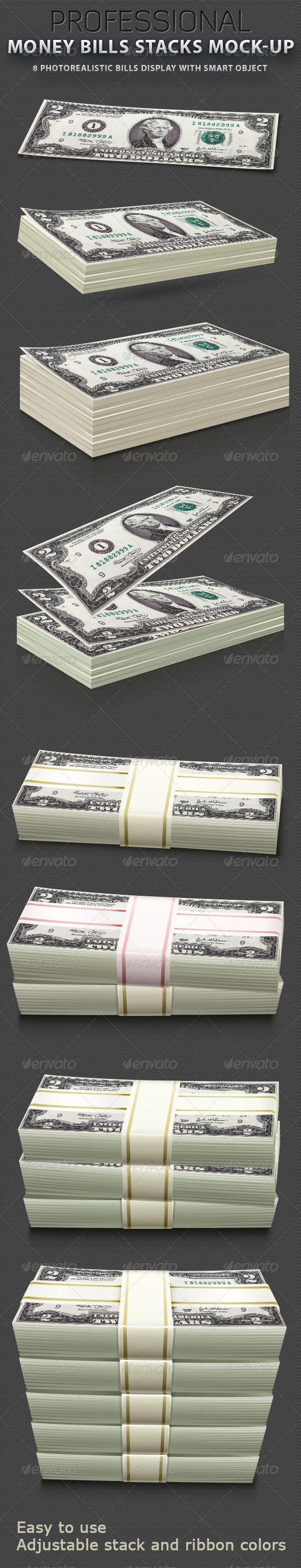 GraphicRiver Money Bills stacks Mock-up 523440