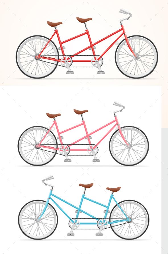 Vintage Tandem Bicycle Set