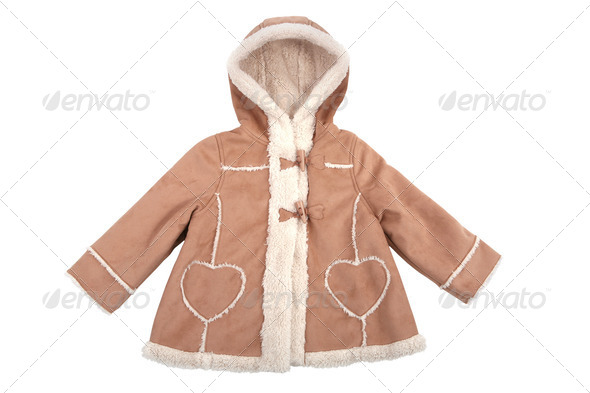 Baby leather coat with fur isolated on white - Stock Photo - Images
