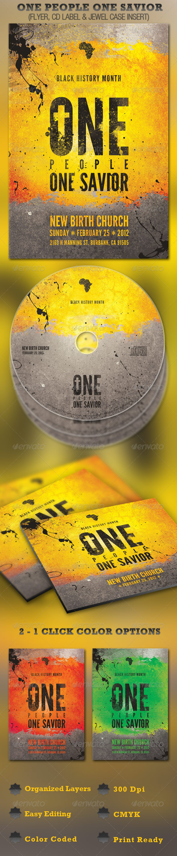 One People One Savior Church Flyer and CD Template - Church Flyers