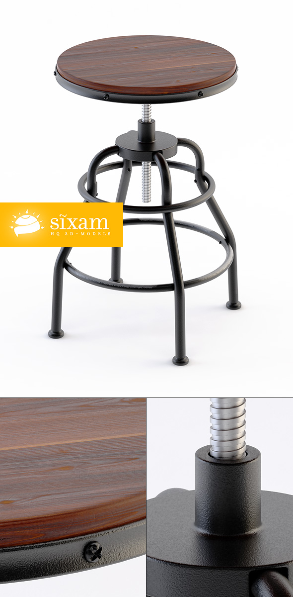Industrial Mansard Stool - 3DOcean Item for Sale