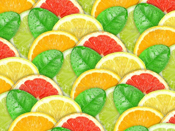 Background with motley citrus slices and green leaf - Stock Photo - Images