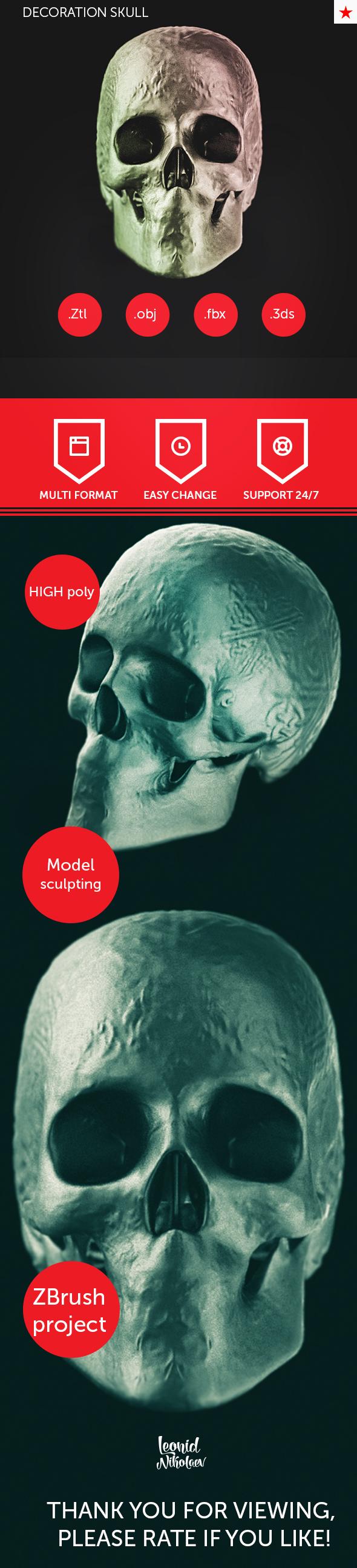 Decoration skull model - 3DOcean Item for Sale