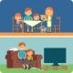 Family Inside Home Illustration