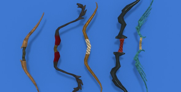 Low Poly Bows Pack, Hand Painted Textures. - 3DOcean Item for Sale