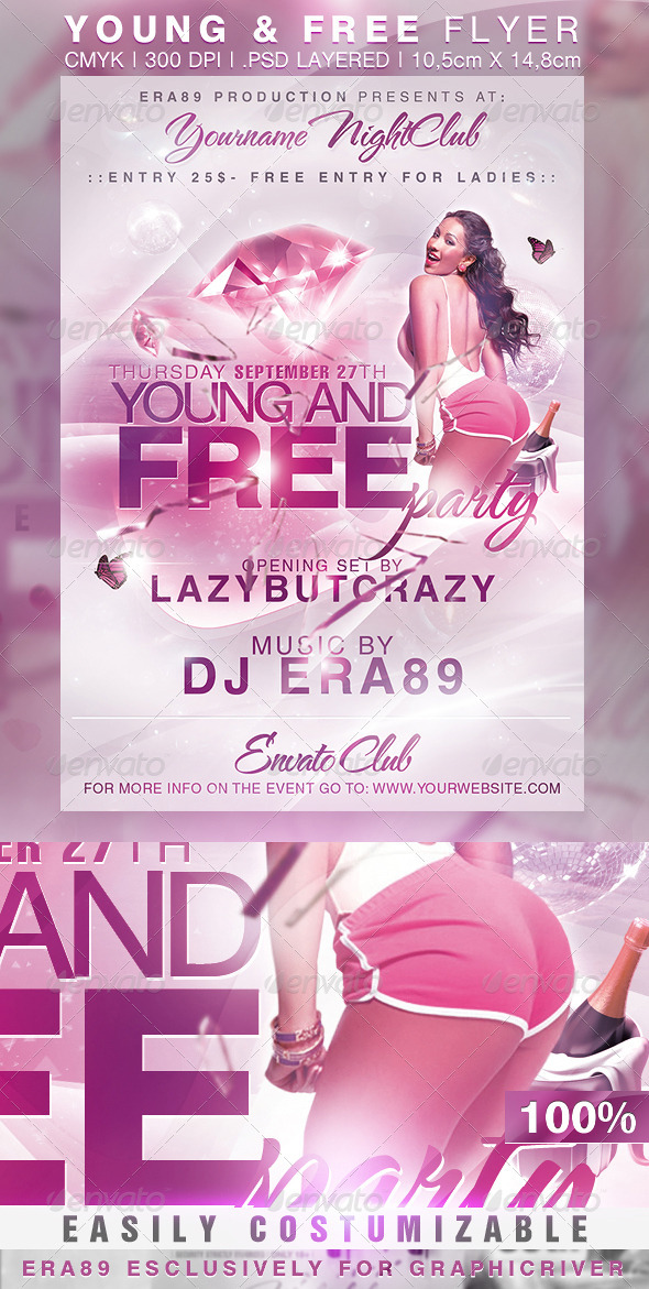 Young and Free Party NightClub Flyer - Clubs & Parties Events