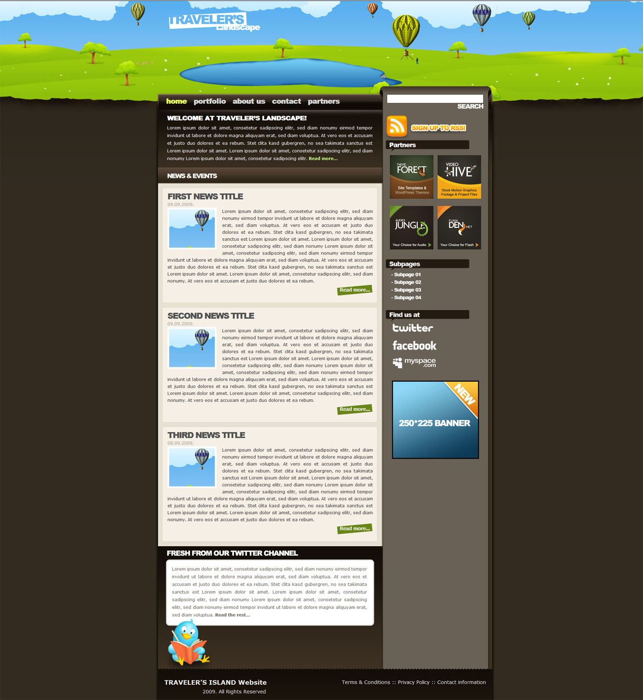Traveler's Landscape XHTML drawn styled template