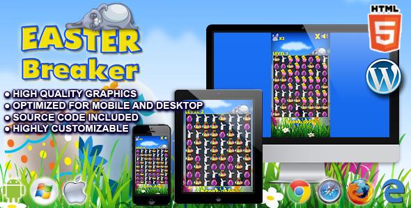Easter Breaker - HTML5 Match 3 Game