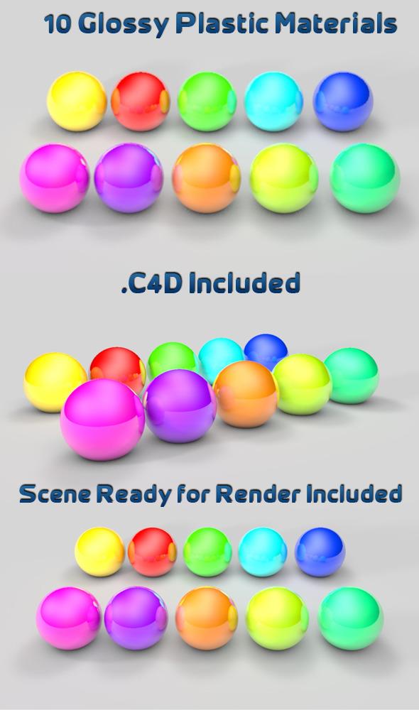 3DOcean 10 Glossy Plastic Materials 1549275