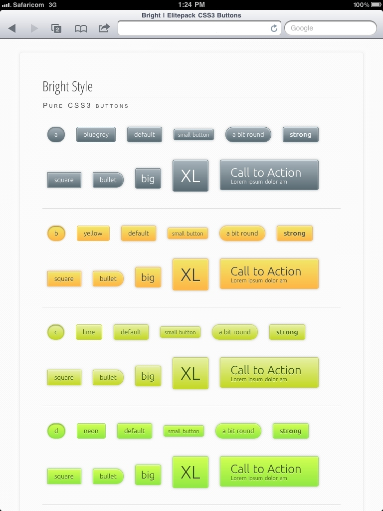 Elitepack Classic CSS3 Buttons - Screenshot 14 - Bright elitepack CSS3 buttons on iPad2 Safari