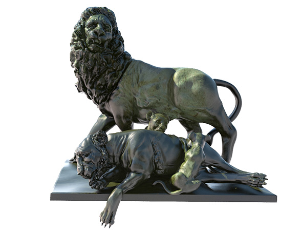 Statue of lion lioness and lion cubs - 3DOcean Item for Sale