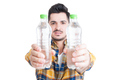 Hydration and healthy lifestyle concept with two bottles of wate