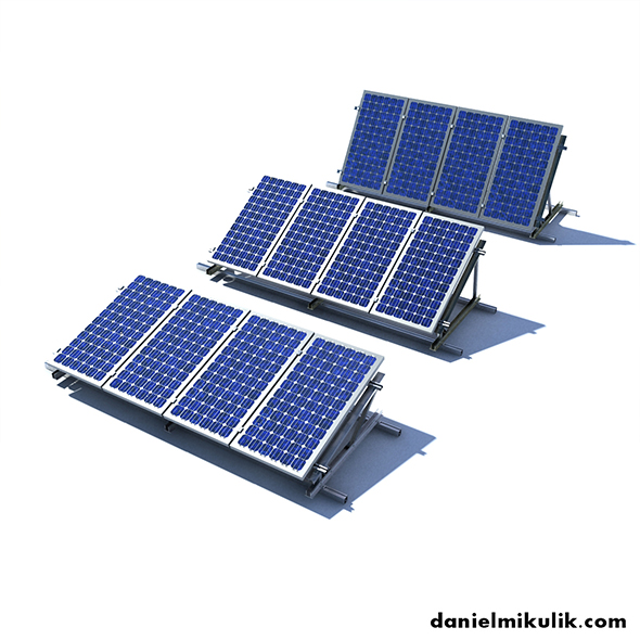 Solar Panels 3 Types - 3DOcean Item for Sale