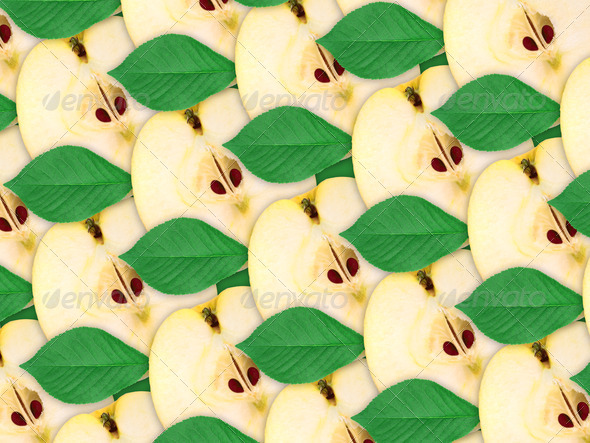 background of apples slices and green leaf - Stock Photo - Images