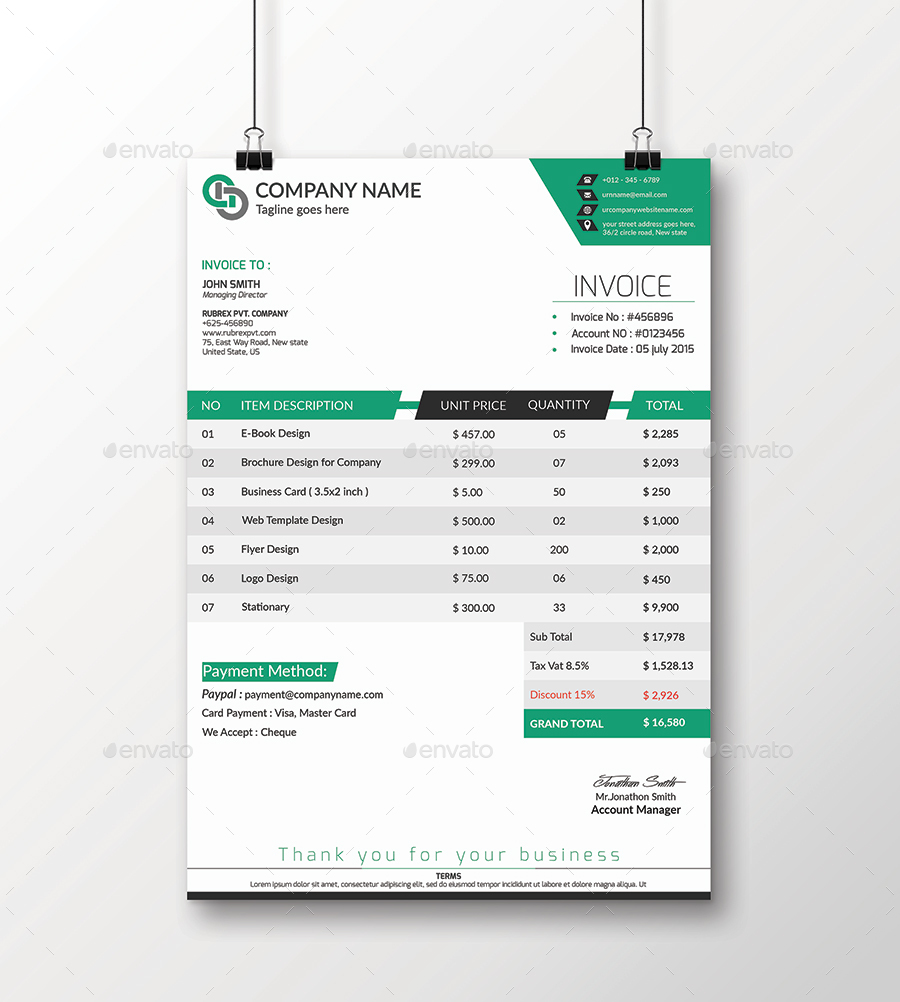 invoice template excel by design_circle | graphicriver, Invoice examples