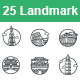 Landmarks II outlines vector icons