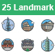 Landmarks II color vector icons