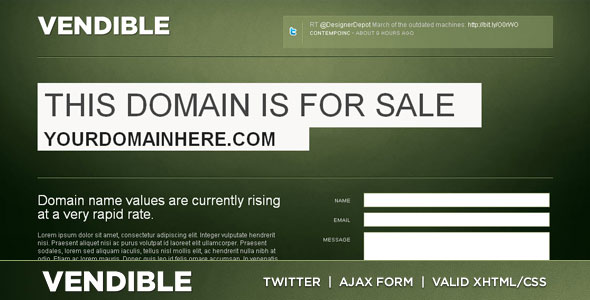 Vendible - Site/Domain For Sale XHTML/CSS