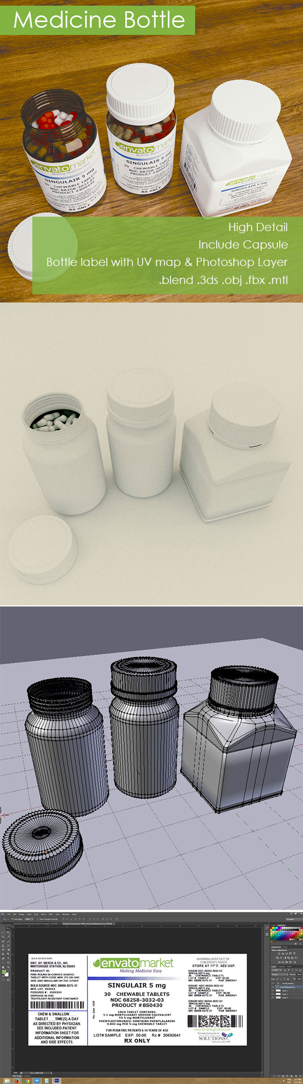 3D Medicine Bottle - 3DOcean Item for Sale