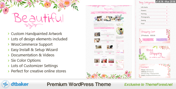 Beautiful Watercolor - Hand Painted Creative WordPress - This is a custom hand painted creative WordPress theme. It comes with a great set of easy to use features and configuration options.