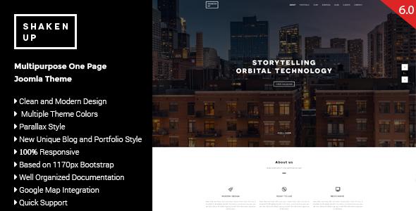 Shaken-Up - Multipurpose One Page Joomla Template