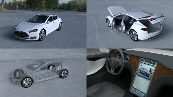 Tesla Model S with chassis/interior HDRI - 3DOcean Item for Sale
