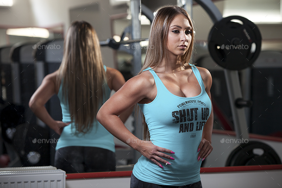 Female fitness gym tank top t shirt mock up by vasaki for Free gym t shirts