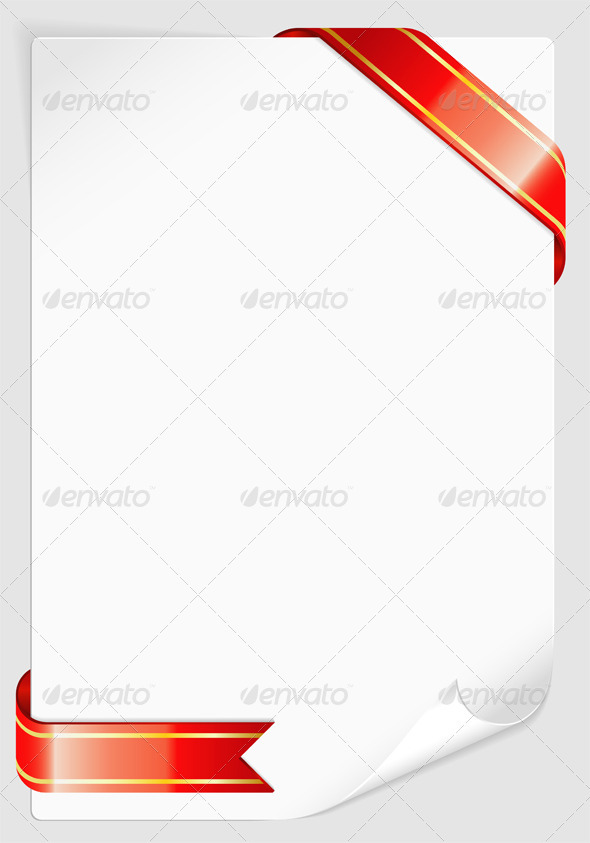 Graphic River Sheet of white paper with Ribbon Vectors -  Conceptual  Seasons/Holidays  Miscellaneous 1555221