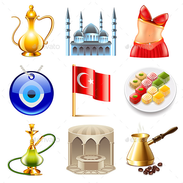 Turkey Travel Icons Vector Set