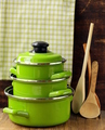 Set Of Metal Green Pots Cookware