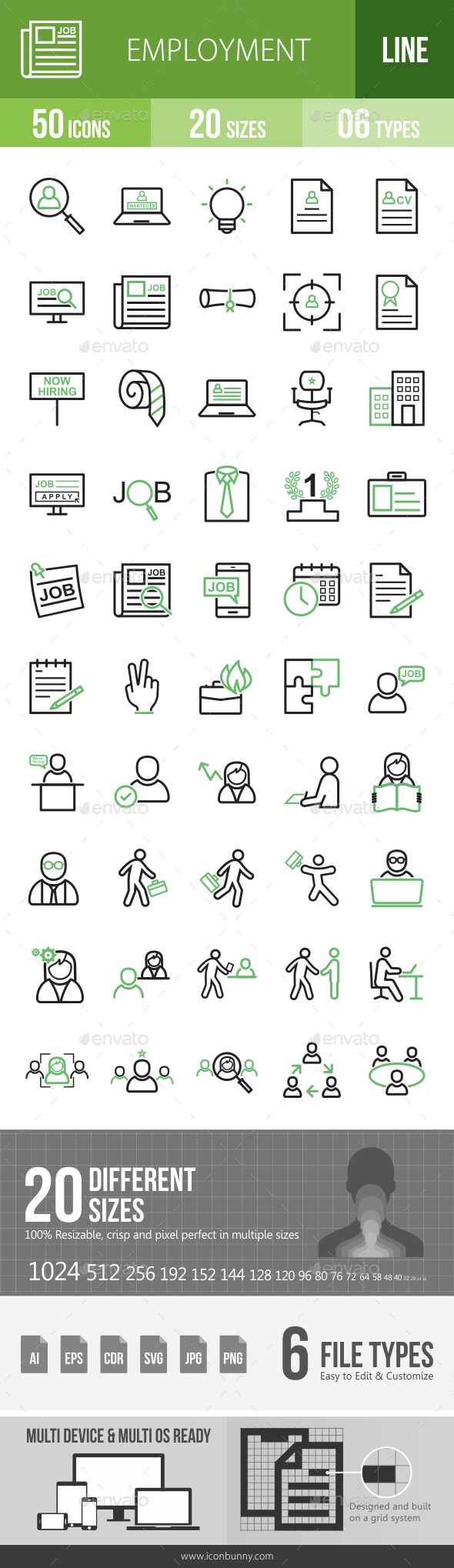 Employment Line Green & Black Icons