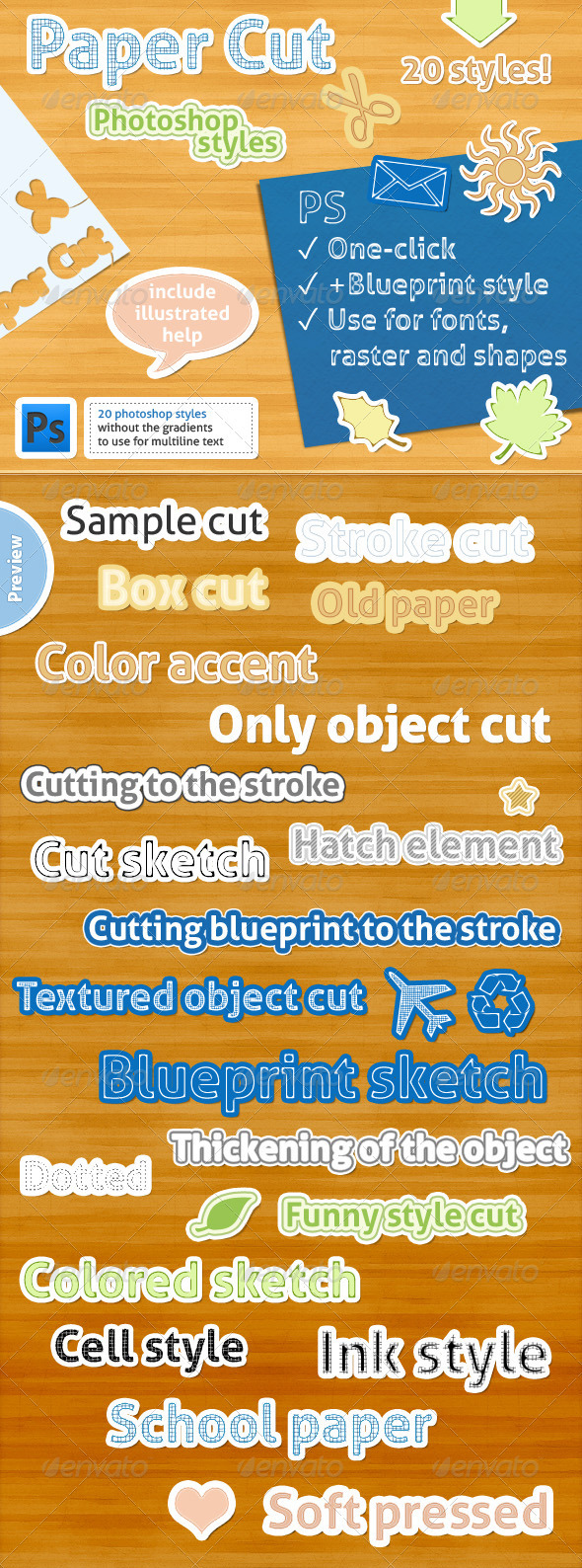 GraphicRiver 20 Photoshop Styles Paper Cut 1556645