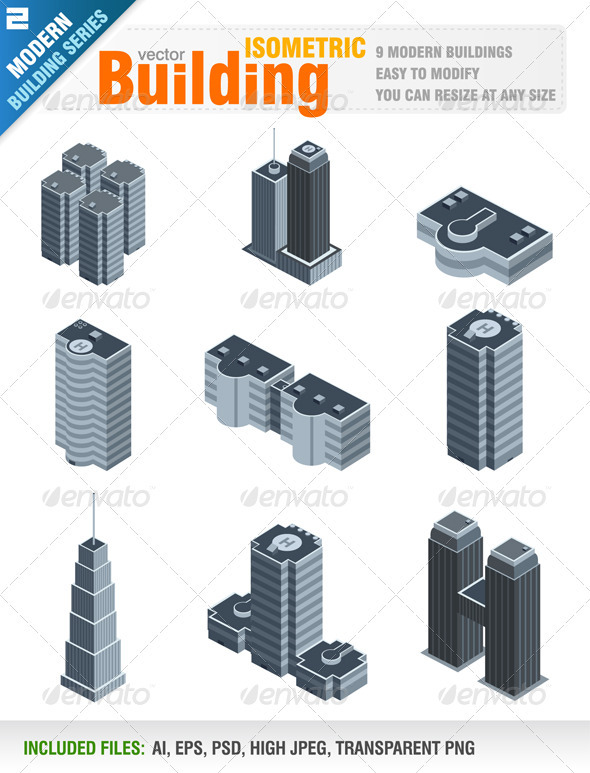 GraphicRiver Modern Isometric Buildings 1556817