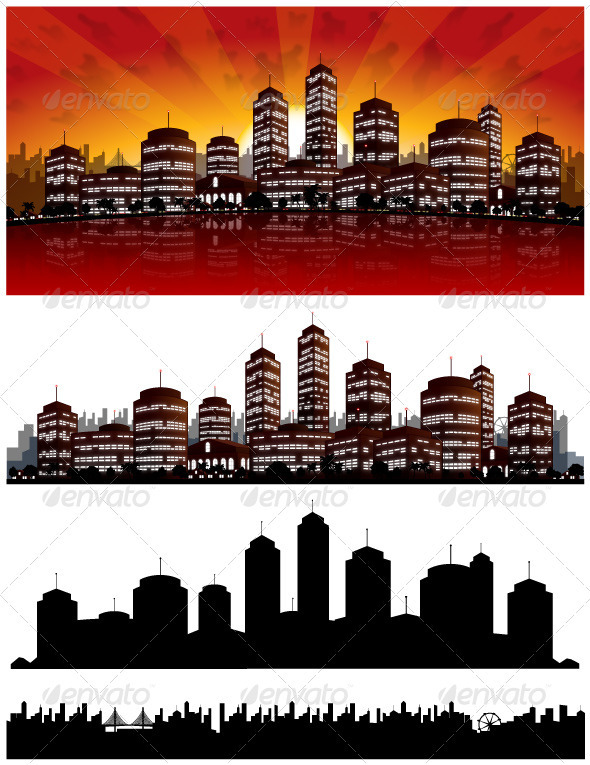 GraphicRiver Sunset City Vector Background Skyline 1556965