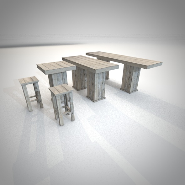 Woody bar furniture - 3DOcean Item for Sale