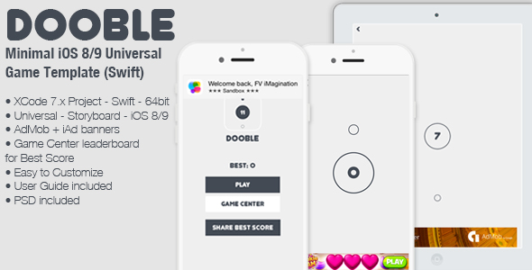 Download DOOBLE - iOS 8/9 Universal Game Board Template (Swift) nulled download