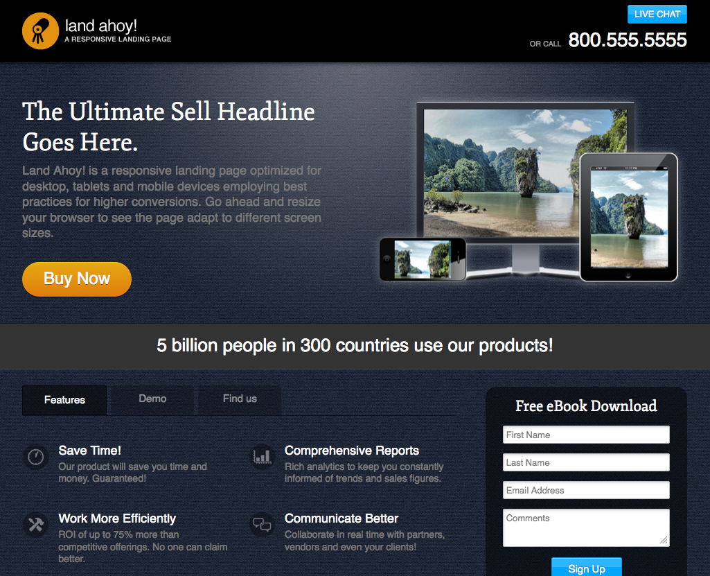 Land Ahoy A Responsive Landing Page Template By