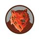 Russian Bear Head Growling Circle Retro