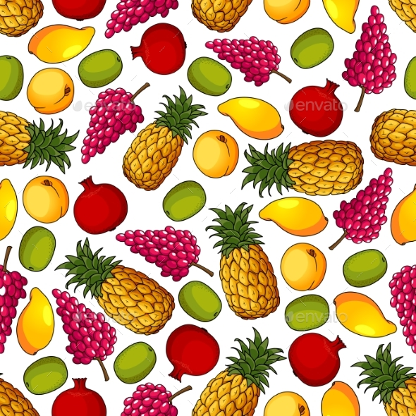 Fresh Tropical Fruits Seamless Pattern