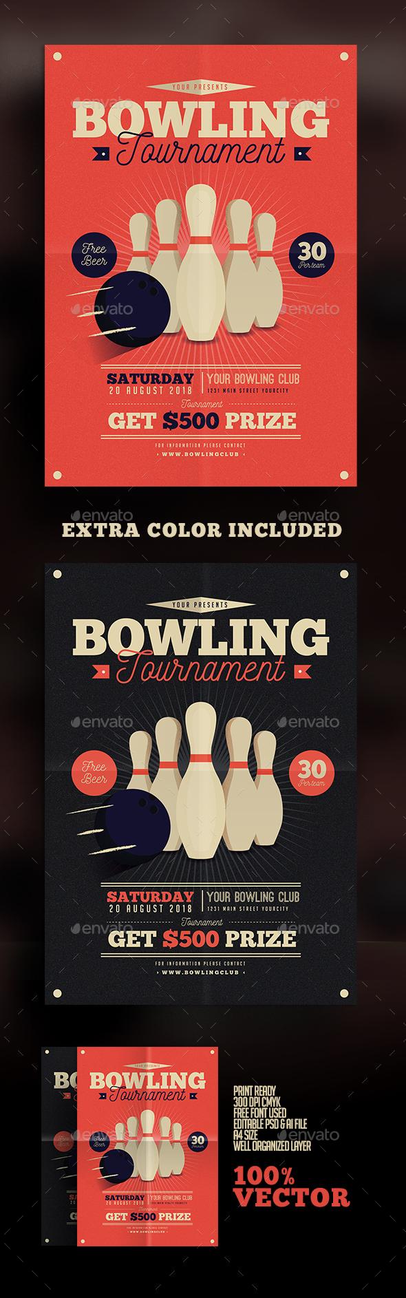 Vintage Bowling Tournament Flyer