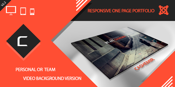 template preview.  large preview - Cashemir - Responsive One Page Joomla Template
