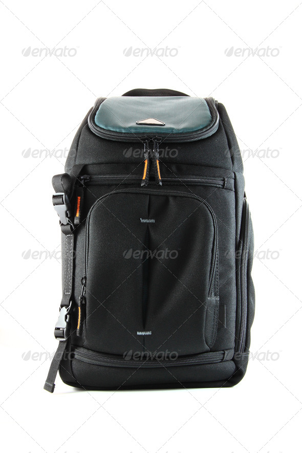 Front of a black camera travel bagpack. - Stock Photo - Images