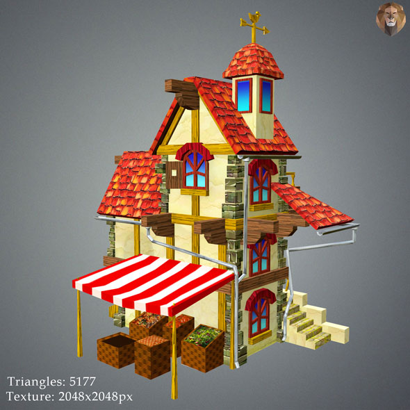 3DOcean Low Poly Tavern House 15589748
