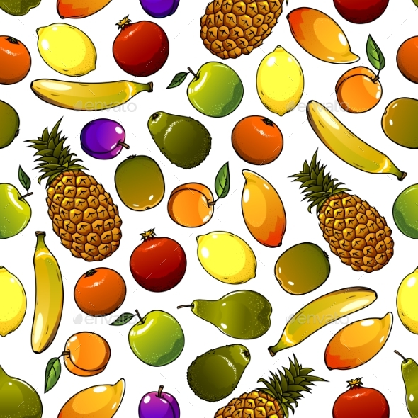 Ripe Tropical Fruits Seamless Pattern